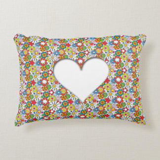 Many Flowers & A big Heart Decorative Pillow