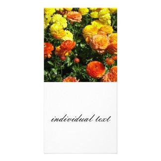 Many flowers,yellow,orange customized photo card