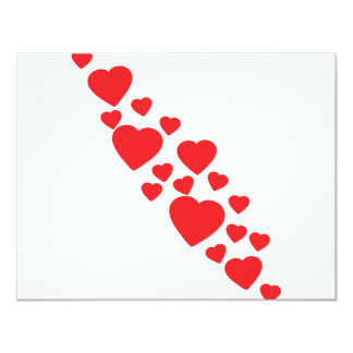 many flying red hearts icon card