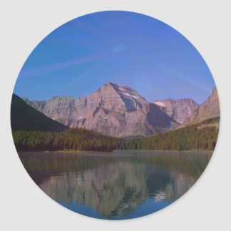 Many Glacier in Glacier National Park, Montana Classic Round Sticker