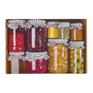 Many Glass Bottles With Preserved Food Laminated Placemat