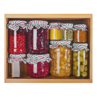 Many Glass Bottles With Preserved Food Panel Wall Art