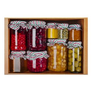 Many Glass Bottles With Preserved Food Poster