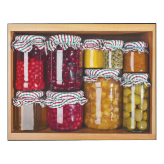 Many Glass Bottles With Preserved Food Wood Wall Art