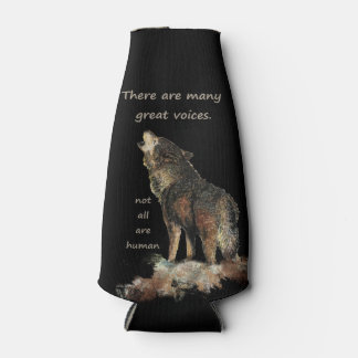 Many great voices Inspirational Wolf Quote Bottle Cooler