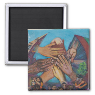 Many hands 2 inch square magnet