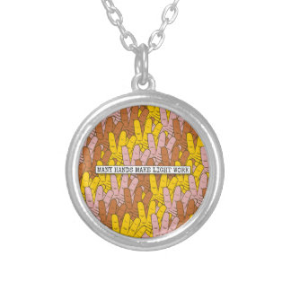 Many Hands Make Light Work Pattern Round Pendant Necklace