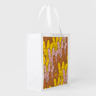 Many Hands Pattern Grocery Bags