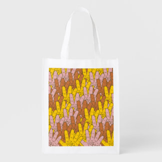 Many Hands Pattern Market Totes