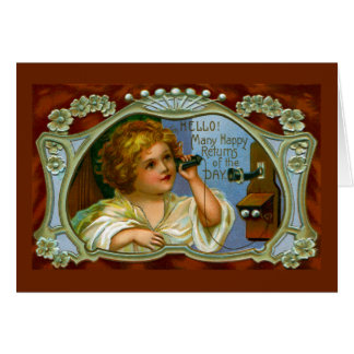 Many Happy Returns from Girl on Antique Phone Greeting Card
