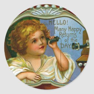 Many Happy Returns from Girl on Fiddleback Phone Classic Round Sticker