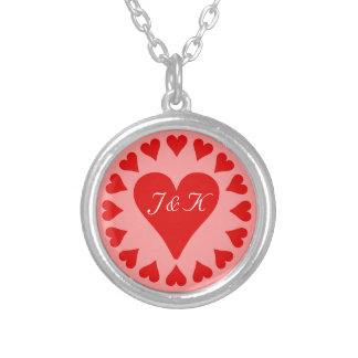 Many hearts beating as one, 2 initials for lovers round pendant necklace