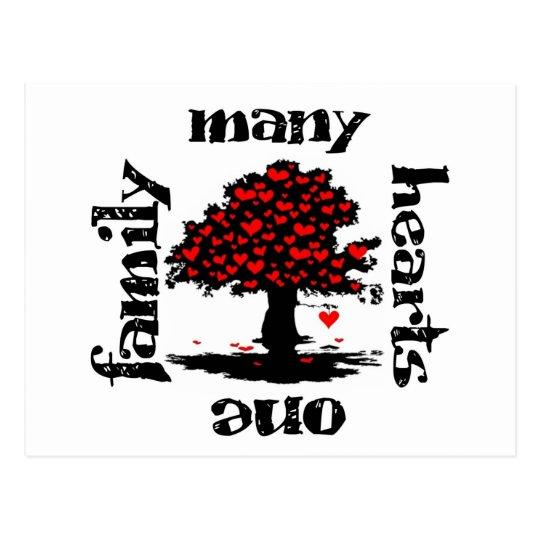 many hearts one family postcard