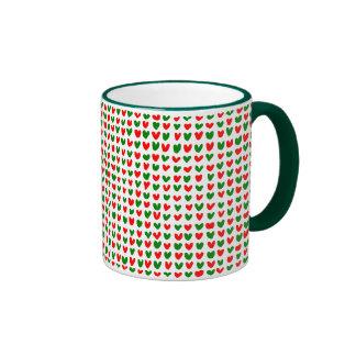 many hearts (red and green) ringer coffee mug