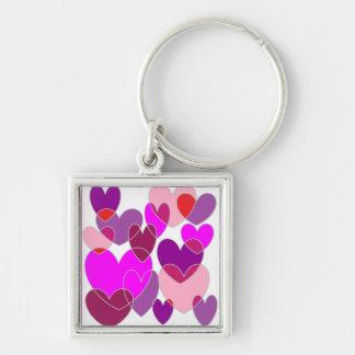 Many Hearts Square Keychain