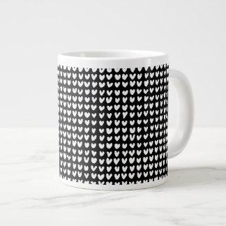 many hearts (white) 20 oz large ceramic coffee mug
