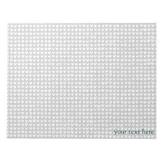 many hearts(white) note pad