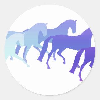 Many Horses blues Round Stickers