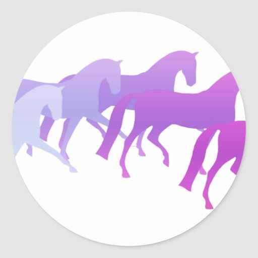 Many Horses (purples) Classic Round Sticker