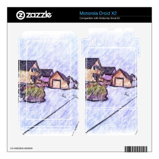 Many houses drawing motorola droid x2 decals