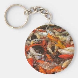 Many koi carp multicolor key chain