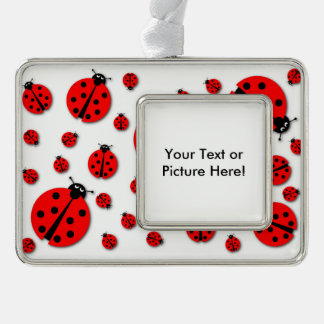 Many Ladybugs Shadows Silver Plated Framed Ornament