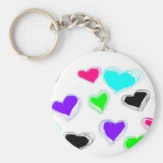 Many Little Neon Sketch Hearts Keychain