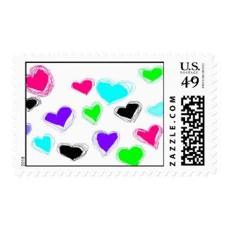 Many Little Neon Sketch Hearts Postage