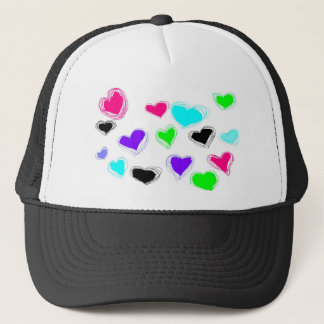 Many Little Neon Sketch Hearts Trucker Hat