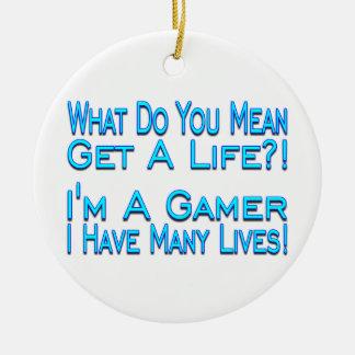 Many Lives Gamer Christmas Ornaments