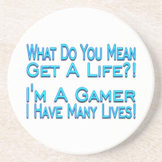 Many Lives Gamer Sandstone Coaster