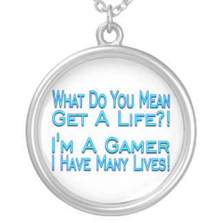 Many Lives Gamer Silver Plated Necklace