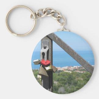 Many love padlocks, one heart shaped keychain