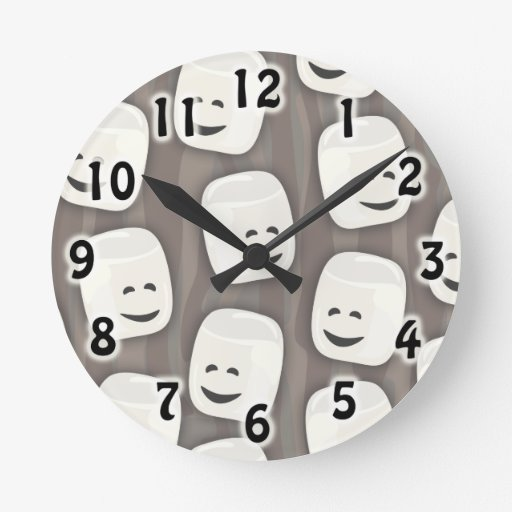 Many Marshmallows Pattern Round Wall Clock