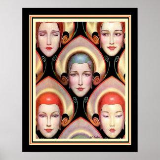 """Many Masks"" W.T. Benda Deco Print 16 x 20"
