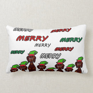 Many Merry Dachshunds Christmas Pillow