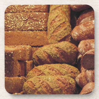 Many mixed breads and rolls background beverage coaster