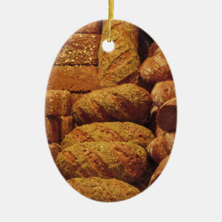 Many mixed breads and rolls background ceramic ornament