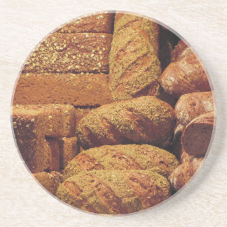 Many mixed breads and rolls background coaster