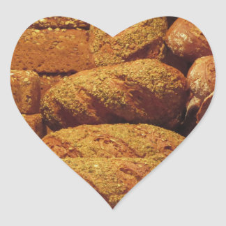Many mixed breads and rolls background heart sticker