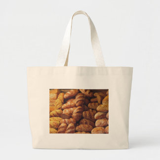 Many mixed breads and rolls background large tote bag