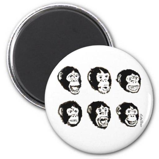 Many Moods of Mr. Chimp Fridge Magnet