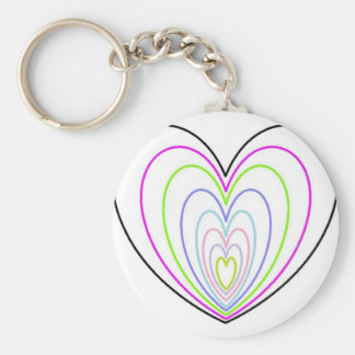 Many Multi Colored Optical Illusion Neon Hearts Keychain