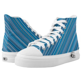 Many multi colored stripes in the blue High-Top sn