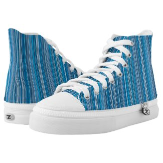 Many multi colored stripes in the blue High-Top sneakers