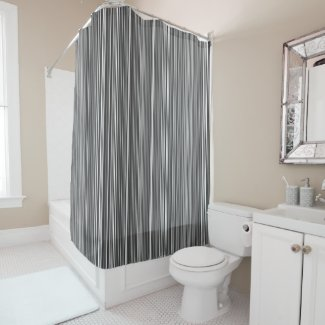 Many multi colored stripes in the blue in Grey Shower Curtain