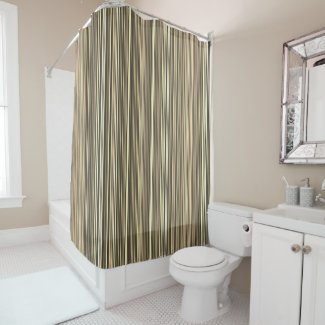 Many multi colored stripes in the blue in Sepia Shower Curtain