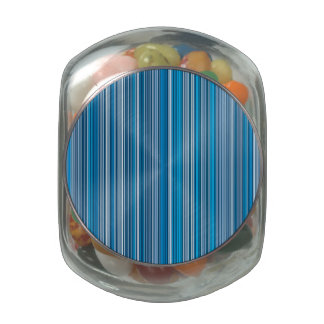 Many multi colored stripes in the blue... jelly belly candy jar