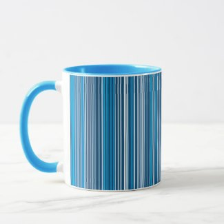 Many multi colored stripes in the blue... mug
