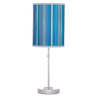 Many multi colored stripes in the blue... table lamp